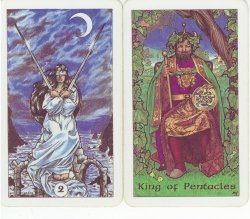 Two of Swords and King of Pentacles from the Robin Wood tarot.
